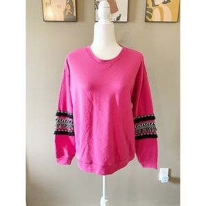 NWT Wrangler Retro Embroidered Fringe Pink Top